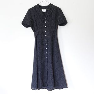 Vintage Black Long Polka Dot Button-Up Dress
